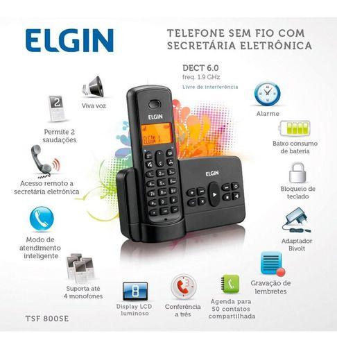 TELEFONE SEM FIO C/ SECRETARIA ELETRONICA ELGIN TSF800SE