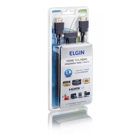 CABO HDMI COM ADAPTADOR MINI / MICRO 1,8M ELGIN M01