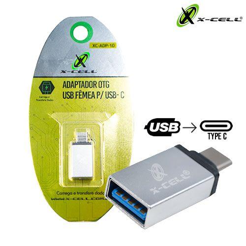 ADAPTADOR OTG USB FEMEA P/ USB-C X-CELL XC-ADP-10