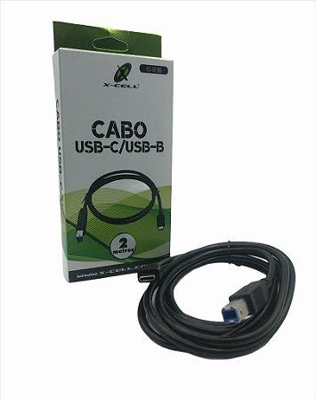 CABO P/ IMPRESSORA USB -C USB-B 2 METROS X-CELL XC-CI-06