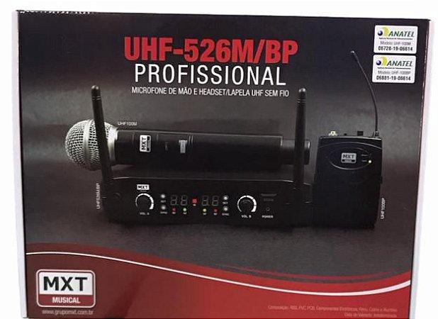 MICROFONE SEM FIO DUPLO DE MAO + HEADSET/LAPELA - PLL 100 CANAIS - UHF-526M/BP