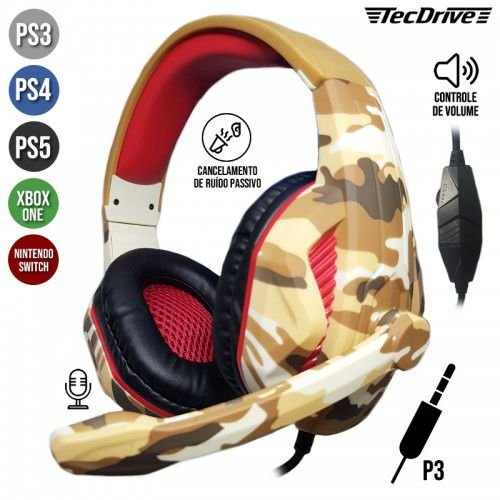 HEADSET GAMER PX-1 RECRUTA PLAYSTATION PS3 PS4 XBOX ONE P3 TECDRIVE