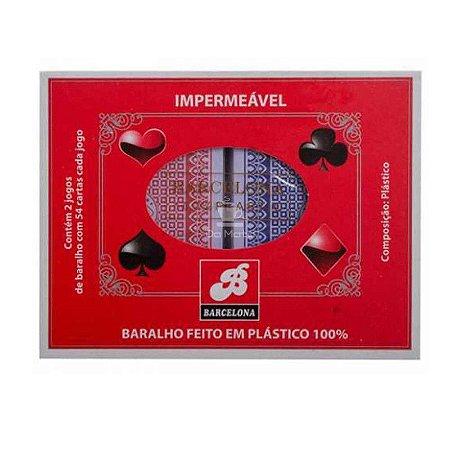 BARALHO PLASTICO 100% C/2 JOGOS BARCELONA BAR-69087