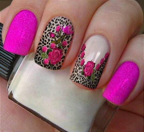 Películas ou Adesivos decorados para unhas  Onça Floral Rosa