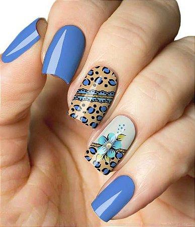 Películas ou Adesivos decorados para unhas  Onça Azulada C  Flor