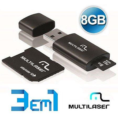 Kit Multilaser 3 Em 1 - Pendrive - Micro Sd 8gb - Leitor de Cartão