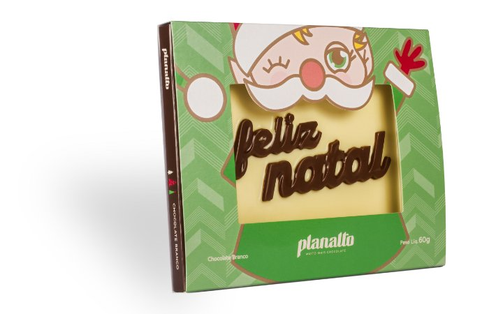 Placa Feliz Natal Chocolate Branco 60g