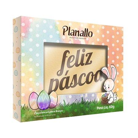 Placa Feliz Páscoa Chocolate Branco 60g