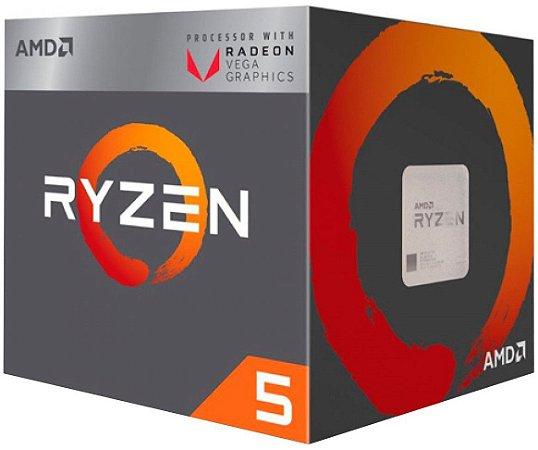 Processador AMD Ryzen 5 2400G c/ Wraith Stealth Cooler, Quad Core, Cache 6MB, 3.6GHz (Max Turbo 3.9GHz), Radeon VEGA, AM4 - YD2400C5FBBOX
