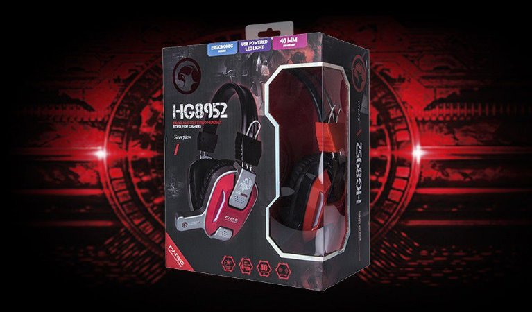 Headset Gamer Marvo Scorpion HG8952 BK+RD USB+3.5mm - PN # HG8952 BK+RD