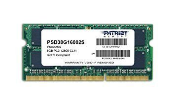 Memória Note Patriot SL 8GB 1600MHz DDR3 SODIMM CL11 - PN # PSD38G16002S