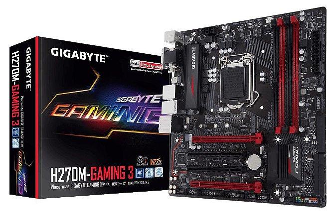 Placa Mae Gigabyte GA-H270M-Gaming 3 1151/DDR4/USB C/M.ATX - PN # GA-H270M-GAMING 3