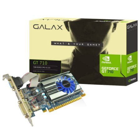 Placa de Vídeo VGA NVIDIA Galax GEFORCE GT 710 Mainstream 1GB DDR3 64Bits 71GGH4HXJ4FN