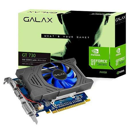 Placa de Vídeo VGA NVIDIA Galax GEFORCE GT 730 Mainstream 2GB GDDR5 64Bits 3200Mhz DVI/HDMI/VGA 73GPH4HXB2TV