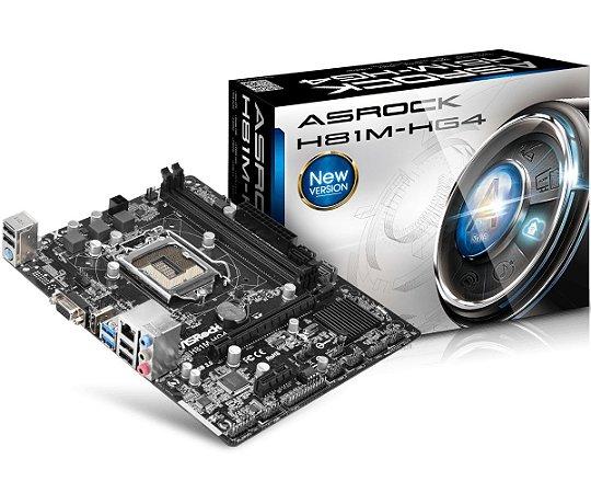 Placa-Mãe ASRock p/ Intel LGA 1150 mATX H81M-HG4 D-Sub, HDMI, 2 x USB 3.0