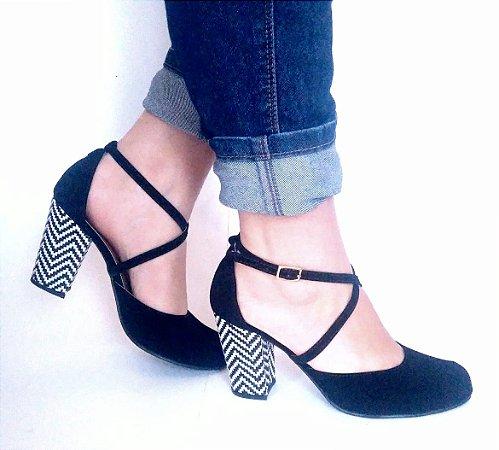 bff708ce24 Sapato em Nobuck Salto Bloco 8cm - Salu s Loja