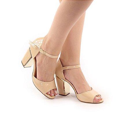 SL1008 - Sandália Nude Salto Bloco 8cm com detalhe em dourado
