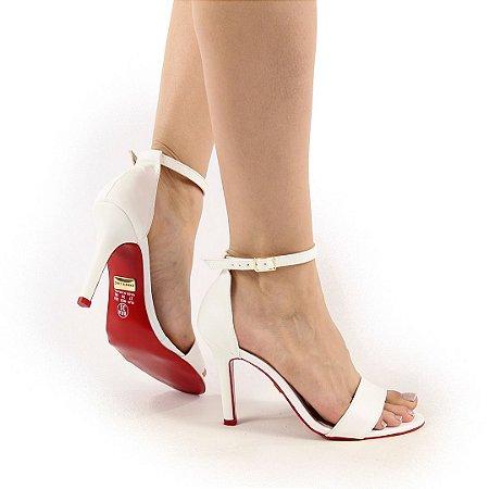 CC17005 - Sandália Salto 9cm Branca com solado verniz vermelho