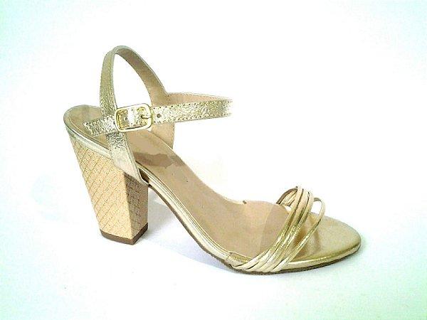 SL4271 - Sandália Dourada salto bloco