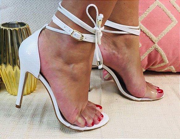 SL948 - Sandália Salamanta Branca 10cm