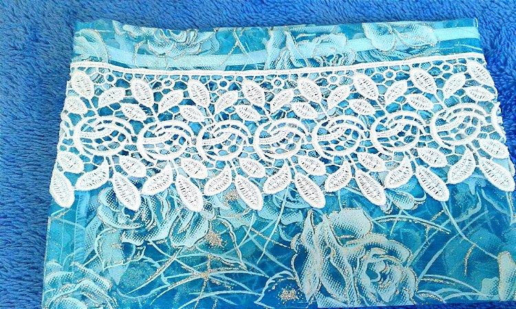 S0043 - Porta (bolsinha) Véu azul transparente