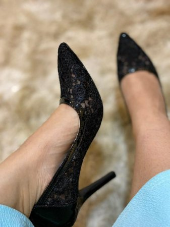 1026 - Scarpin renda preto 9cm