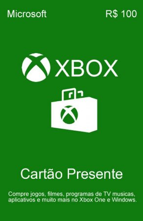 Cartão Presente Xbox Live R$100 Reais - Microsoft Gift Card