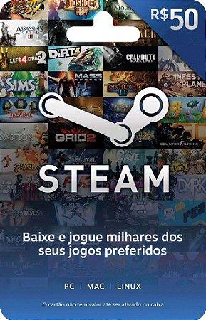 Steam Cartão Pré Pago R$50 Reais - Steam Gift Card
