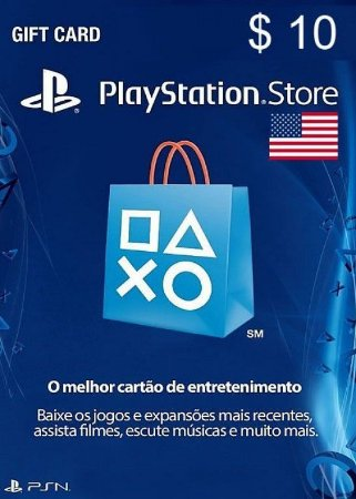 Cartão PSN Store Americana $10 Dólares - Playstation Network Card