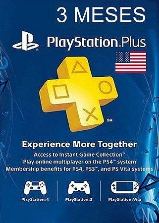 Playstation Network Plus Assinatura - 3 Meses Cartão de Ativação PSN Plus - USA 3 Meses (EUA)