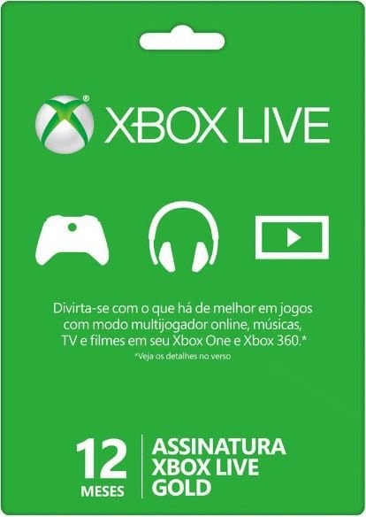 Cartão Xbox Live 12 Meses - Assinatura Xbox Live Gold