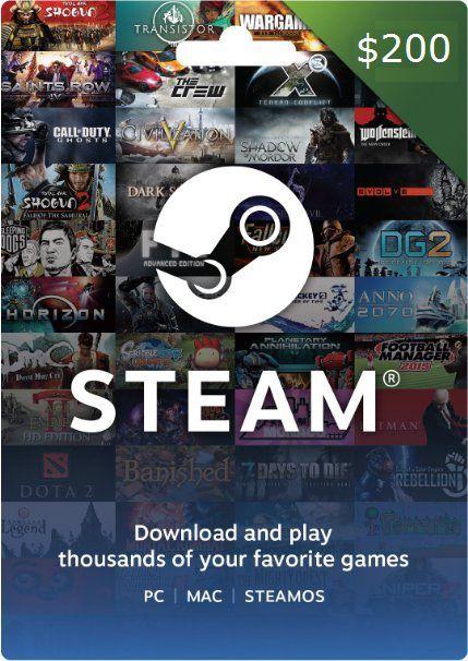 Steam Cartão Pré Pago R$200 Reais - Steam Gift Card