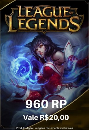 Cartão Presente League Of Legends 960 RP - LOL Riot Points