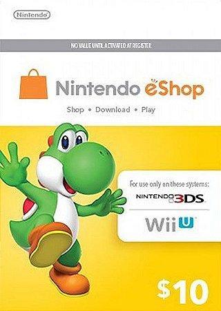 Cartão Nintendo eShop 10 Dólares - 3DS/Wii-U Eshop Cash Card