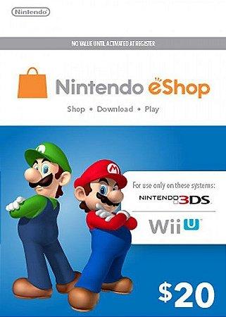 Cartão Nintendo eShop $20 Dólares - 3DS/Wii-U Eshop Cash Card