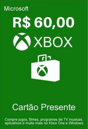 Cartão Presente Xbox Live R$60 Reais - Microsoft Gift Card