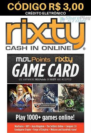 Cartão Rixty Pré-Pago R$3,00 - Rixty Prepaid Game Card