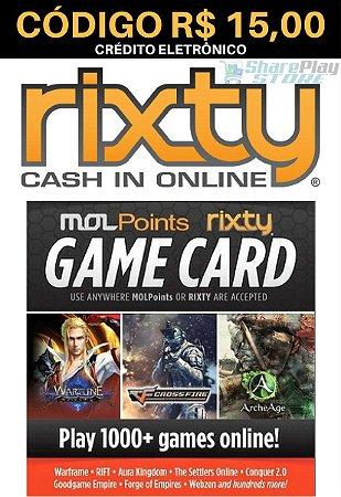 Cartão Rixty Pré-Pago R$15,00 - Rixty Prepaid Game Card