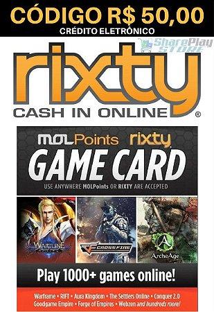 Cartão Rixty Pré-Pago R$50,00 - Rixty Prepaid Game Card