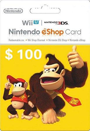 Cartão Nintendo eShop $100 Dólares - 3DS/Wii-U Eshop Cash Card