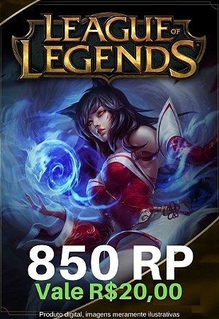 Cartão Presente League Of Legends 850 RP - LOL Riot Points