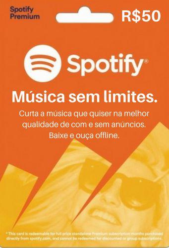 Cartão Presente Spotify Premium R$50 Reais - 3 meses