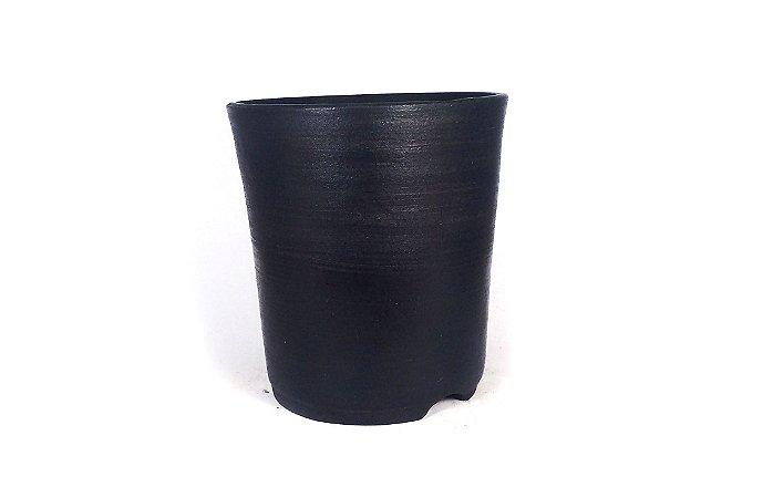 Vaso Bonsai Zezé Duchini Cascata Argila Negra 13,5x12,5