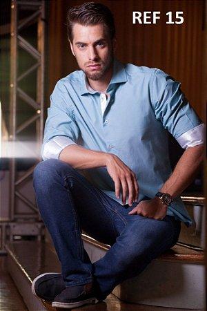 Camisa Omega Azul e Branco