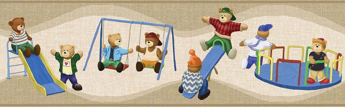 Faixa de Parede Ursos No Parque Bege Bobinex Bambinos 3202