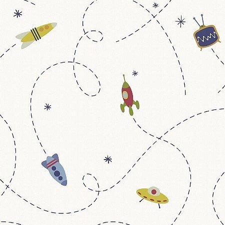 Papel de Parede Infantário Robô Foguete Branco Bobinex Infantário 1702