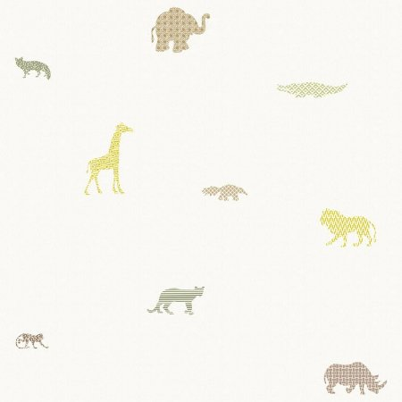 Papel de Parede Infantário Selva Fundo Branco Bobinex Infantário 1717