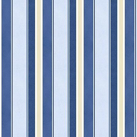 Papel Listrado Azul, Azul Marinho e Bege