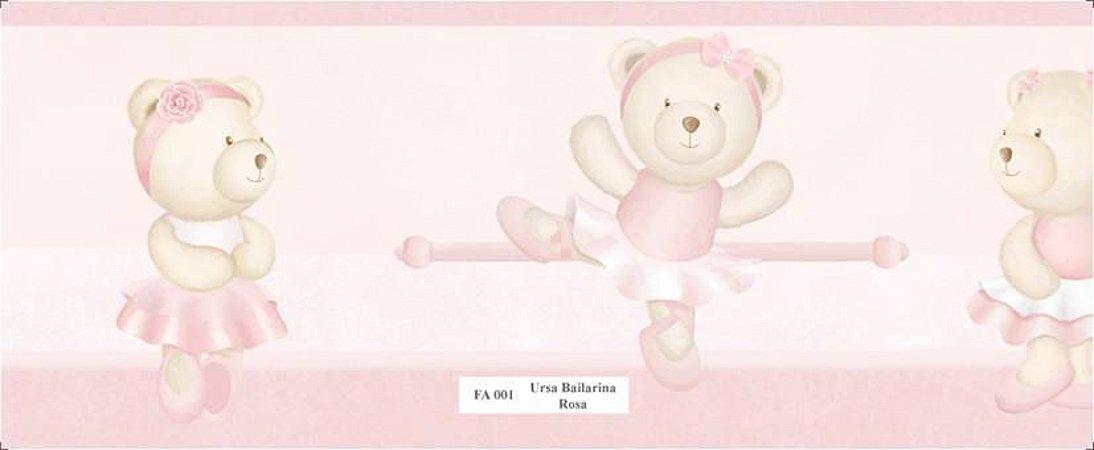 Faixa Ursinha Bailarina Dançando em Rosa