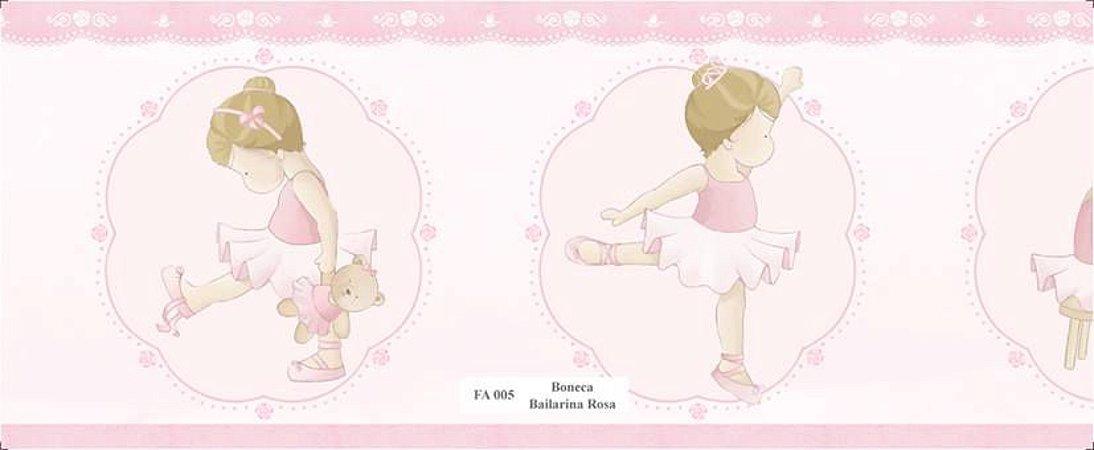 Faixa Menina Bailarina e seu Ursinho na cor Rosa